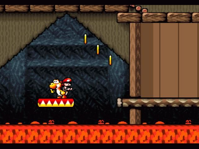 Super Mario World 2: Yoshi's Island SNES Floating over fire in a castle