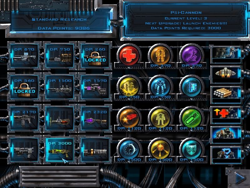 X-COM: Enforcer Windows Ultimately, there are a dozen weapons, a dozen power ups and half a dozen enhancements available, each with four strength levels.