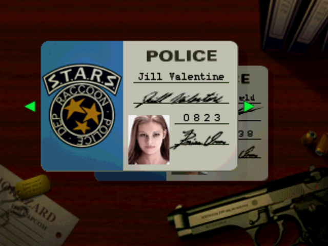 Resident Evil PlayStation Character selection