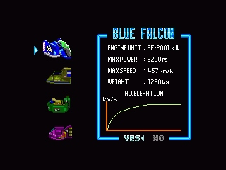 F-Zero SNES Car specs. The cars are very different on many levels.