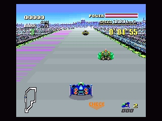 F-Zero SNES The pink stripes to the left are the power refill area...