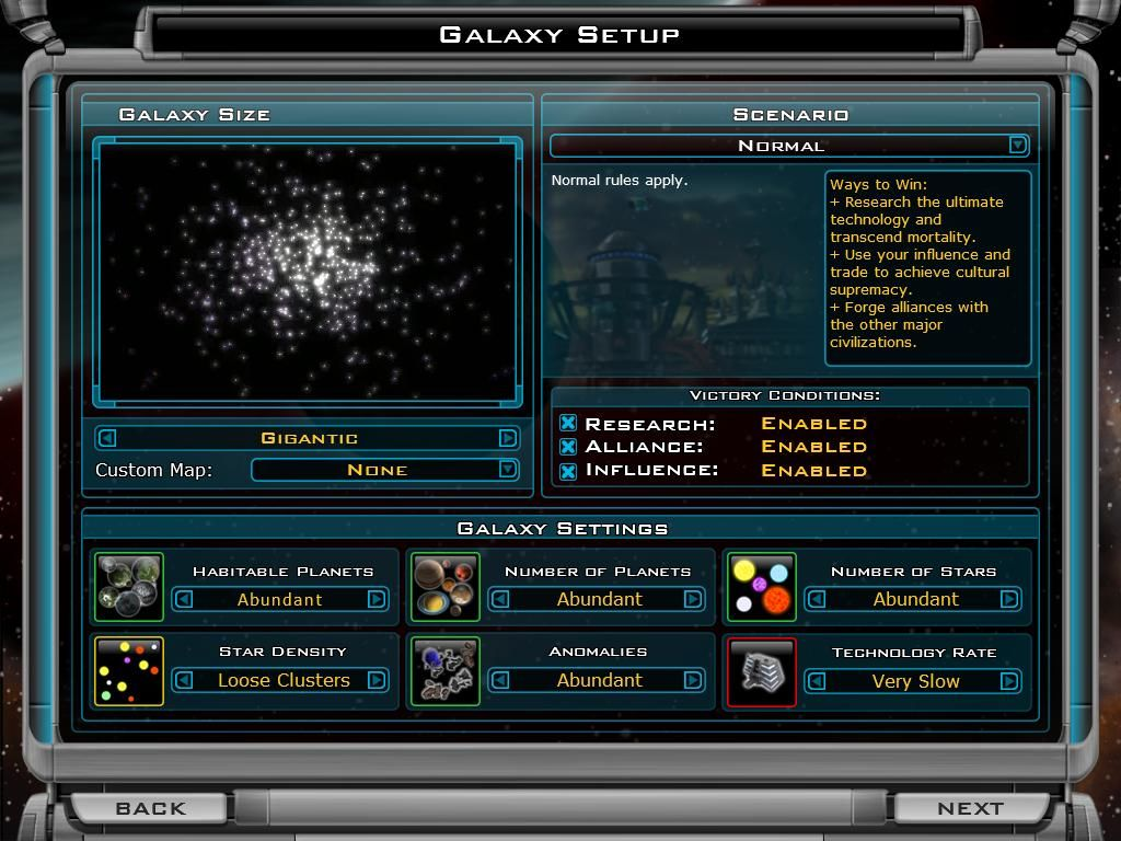 Galactic Civilizations II: Dread Lords Windows New Game - Creating a new galaxy.