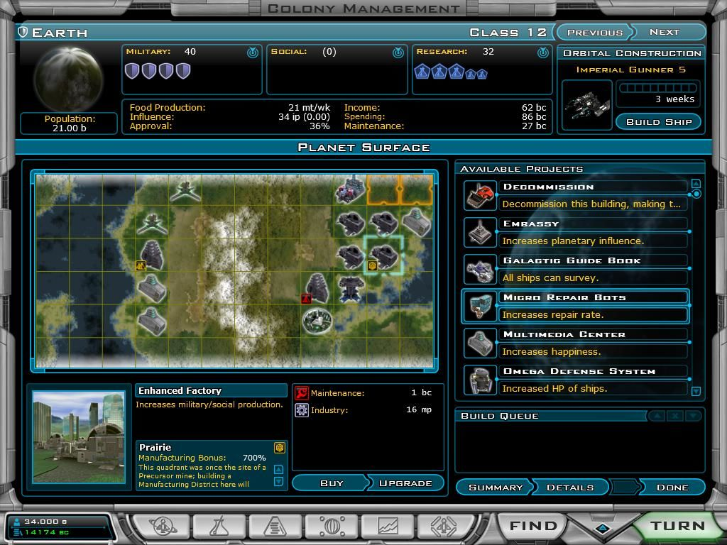 Galactic Civilizations II: Dread Lords Windows Colony Management - here you can construct buildings for your colony.