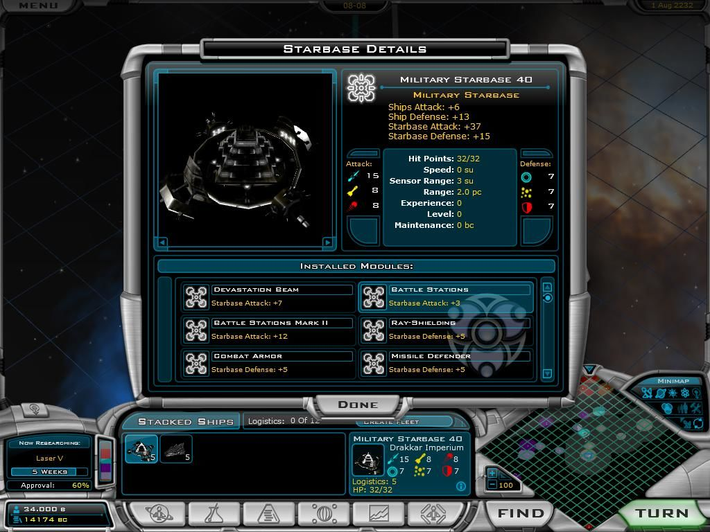 Galactic Civilizations II: Dread Lords Windows Starbase Rapsheet - defense and offense of your ships is heavily dependent on Starbase support.