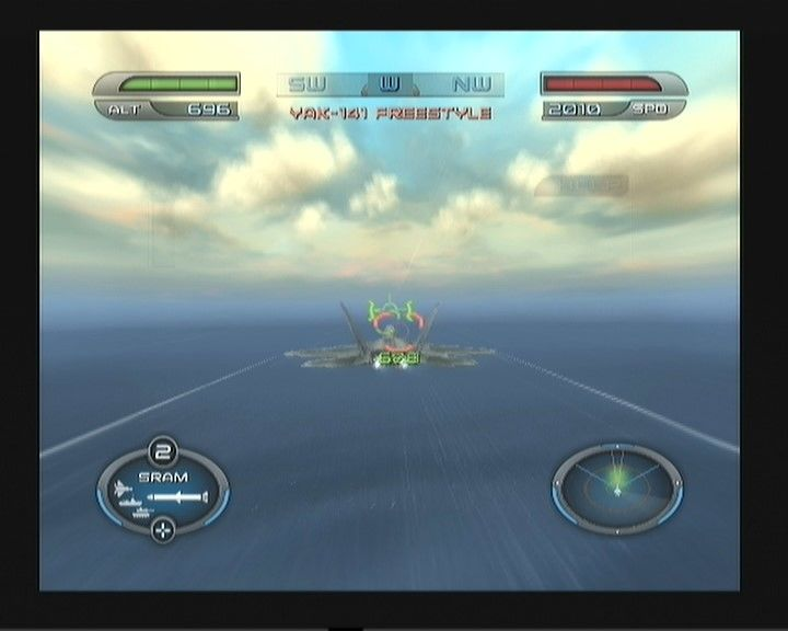 Heatseeker PlayStation 2 Using the afterburner. There are some enemies infront, and one is locked. (You are still out of range though, as the message on top says).