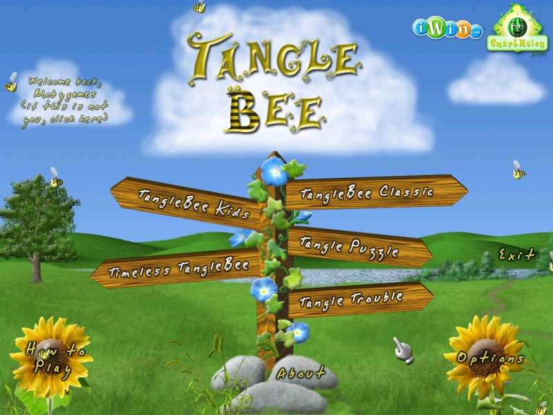 Tangle Bee Windows Title screen