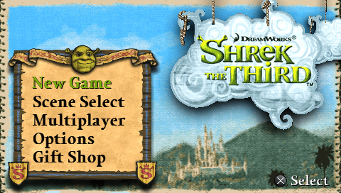 Shrek the Third PSP Main menu
