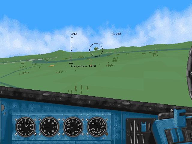 HIND: The Russian Combat Helicopter Simulation DOS The Apache is attacking from the left.