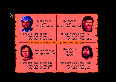 Defender of the Crown Amstrad CPC Choose your player
