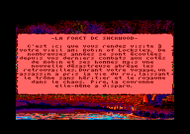 Defender of the Crown Amstrad CPC Information of the Forest of Sherwood (in French)