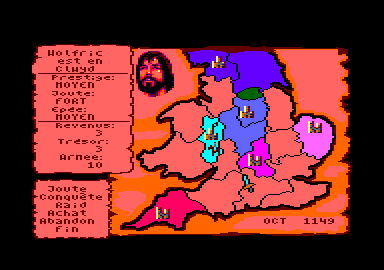 Defender of the Crown Amstrad CPC The map of Briton.
