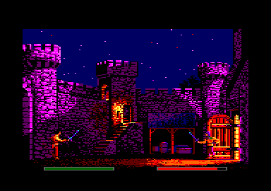 Defender of the Crown Amstrad CPC Raiding a foe's castle.
