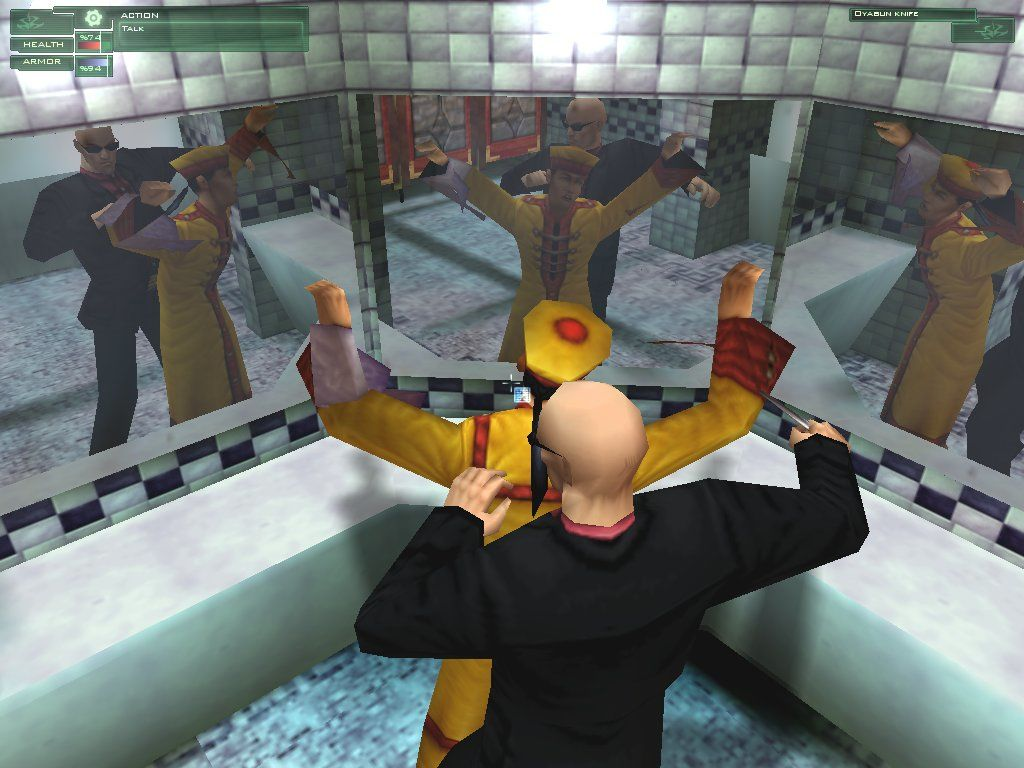 Hitman: Codename 47 Windows The Hitman follows a waiter into the bathroom and does his dirty little business. I guess he got tired of getting his plate taken away before he was finished.