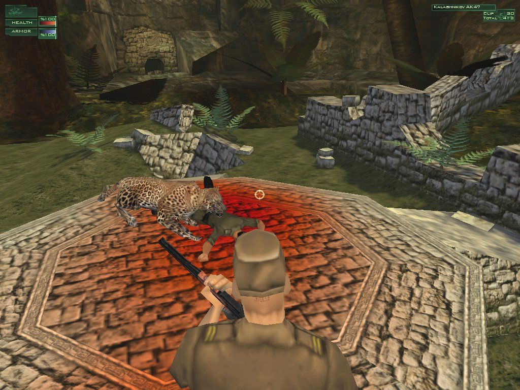 Hitman: Codename 47 Windows The Hitman feeds a pig (of the human variety) to the Uwa Jungle God, aka a very large Jaguar