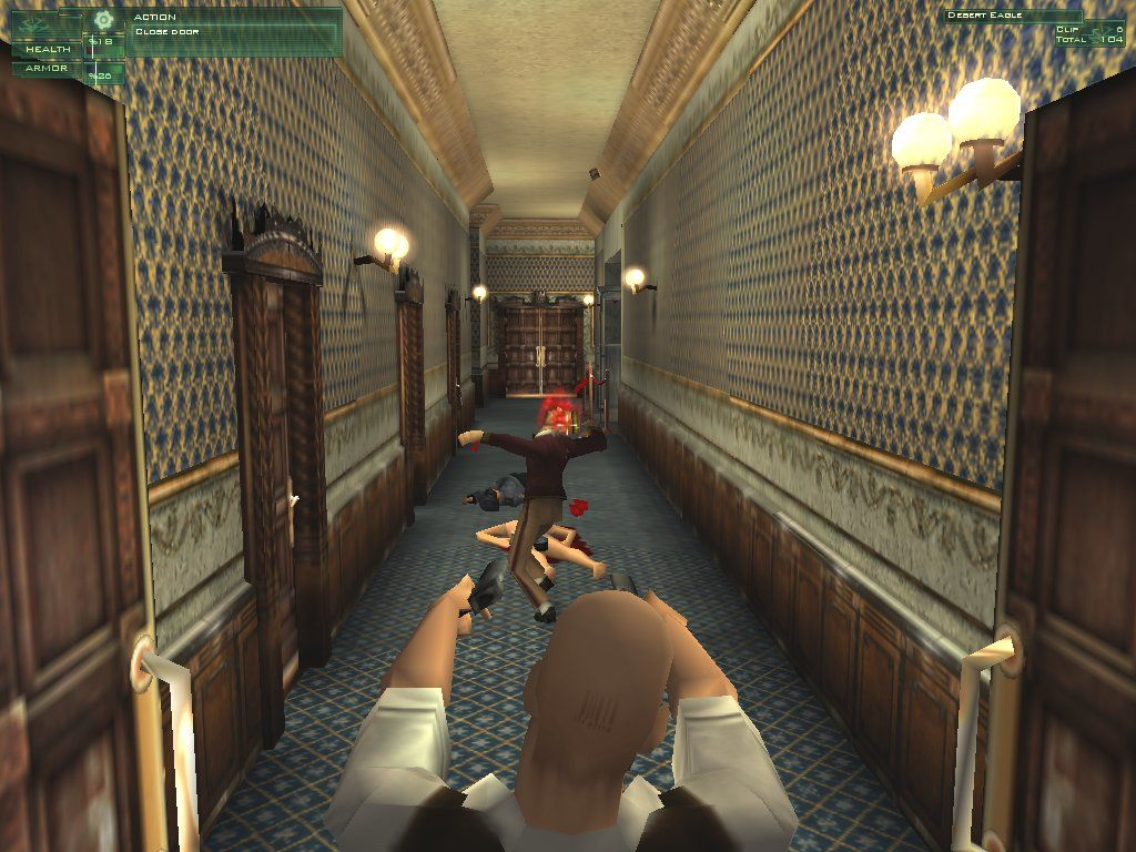 Hitman: Codename 47 Windows Rieper goes on a killing spree inside the Budapest Thermal Bath Hotel. I guess no TV and no beer makes Hitman go crazy.