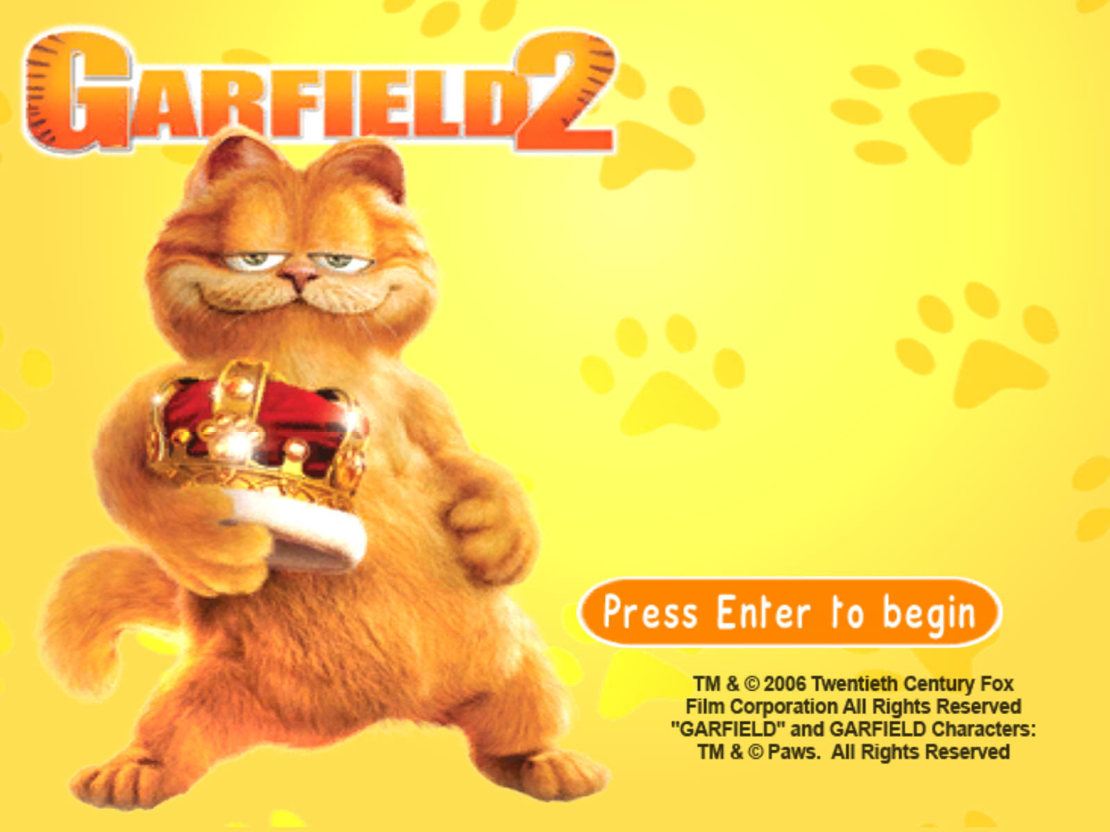 Garfield: A Tail of Two Kitties Windows Title Screen