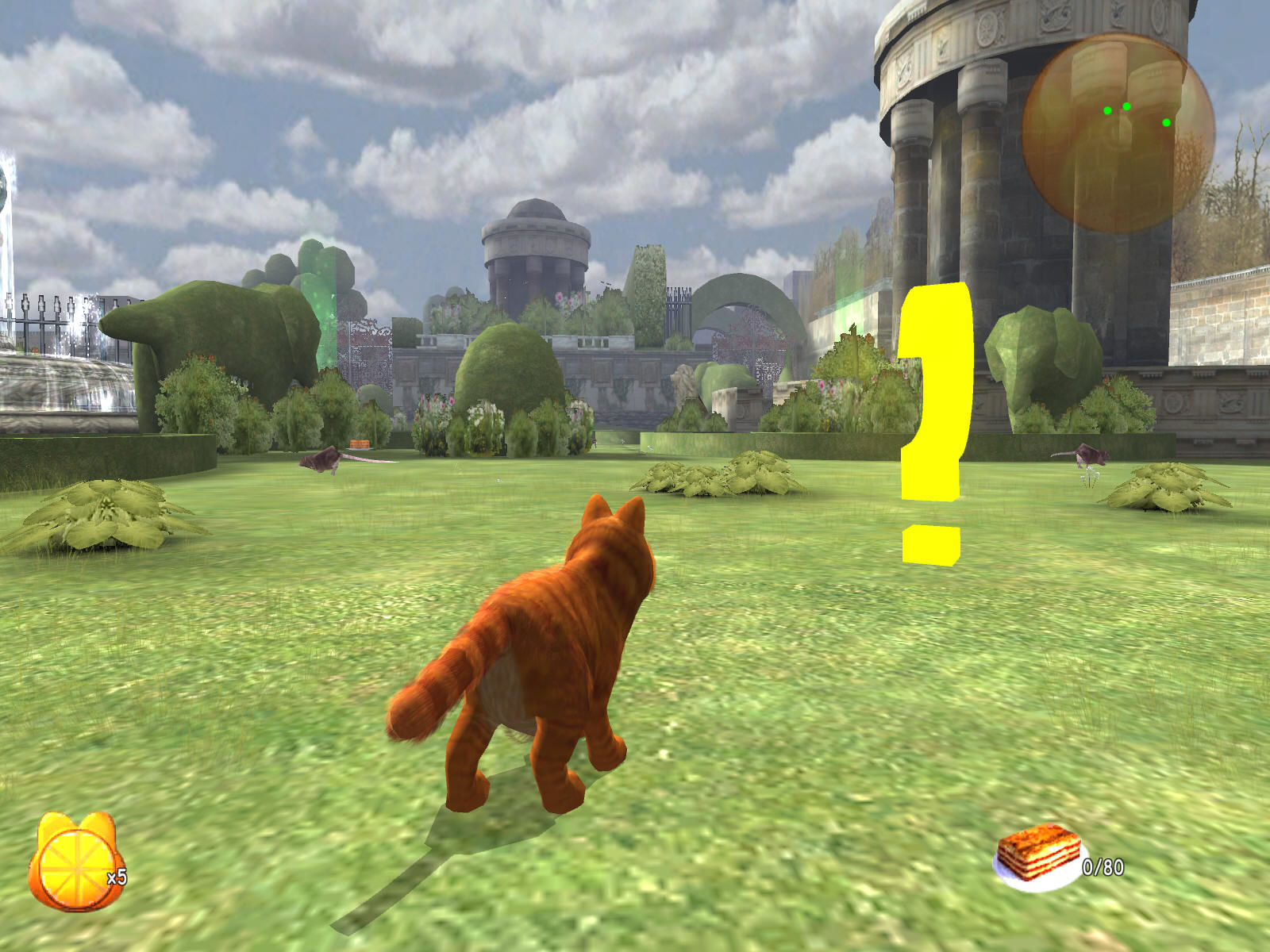 Garfield: A Tail of Two Kitties Windows A question mark marks the available mission.