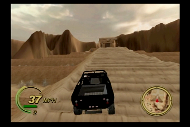 Smuggler's Run PlayStation 2 Driving up a pyramid of some sort.