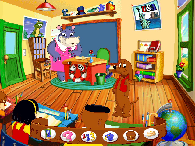 JumpStart 1st Grade Windows Homeroom! Frankie's collar at the bottom of the screen shows the options