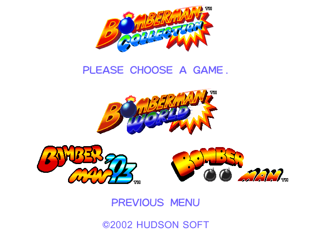 Bomberman Collection Windows Main Menu.