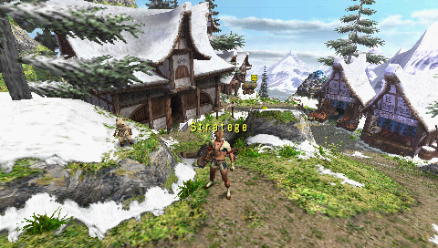 Monster Hunter Freedom 2 PSP Player home in the village