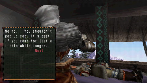 Monster Hunter: Freedom 2 PSP Characters' dialog