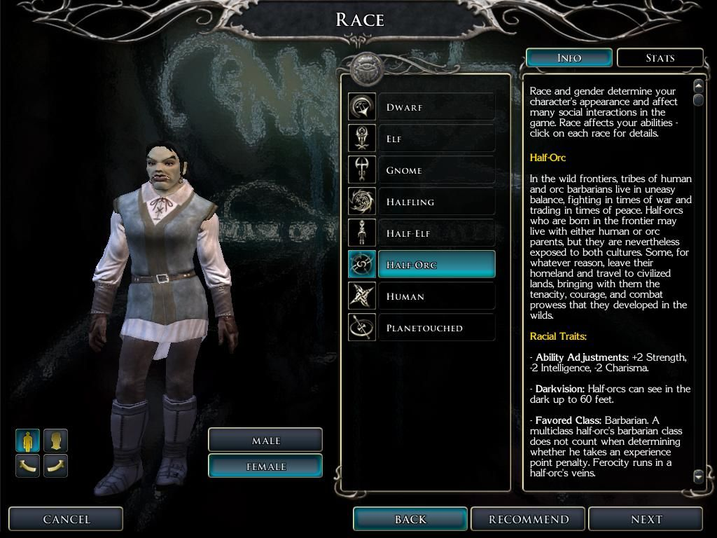 Neverwinter Nights 2: Mask of the Betrayer Windows Character creation. Most of the races have several subraces as well.