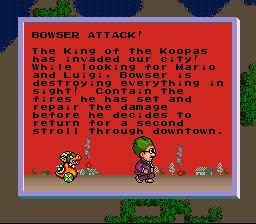 SimCity SNES Disasters can ruin a good infrastructure. Exclusive to the SNES, the generic monster has been replaced by Mario's nemesis, Bowser Koopa