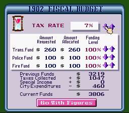 SimCity SNES The yearly budget. Plan city spending and allocate funds wisely.