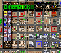 SimCity SNES A structured city with lots of roads, which can cost quite a bit to maintain.