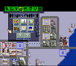 SimCity SNES The information section of the menu bar contains important tools to being a good mayor.