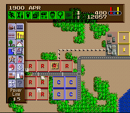 SimCity SNES The beginnings of a city, the colored squares represent vacant lots.