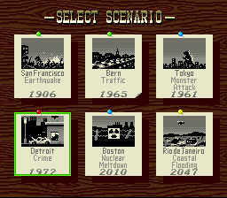 SimCity SNES The scenario selection offers a variety of pre-set challenges.