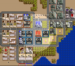 SimCity SNES The spotlight tool can be used to find out the development of each building.