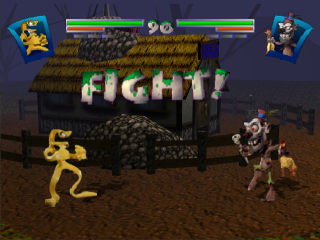 Clay Fighter: Sculptor's Cut Nintendo 64 Notice the rubber chicken.