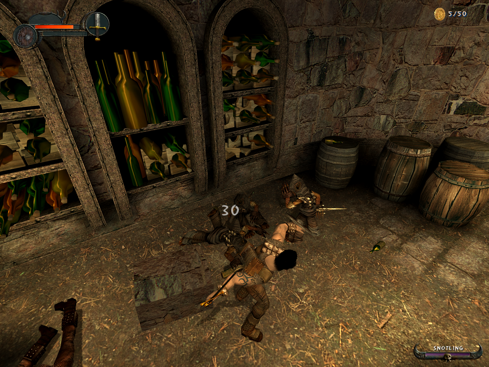 Enclave Windows Hacking and slashing at a goblin. It looks like I might've hurt his eye!