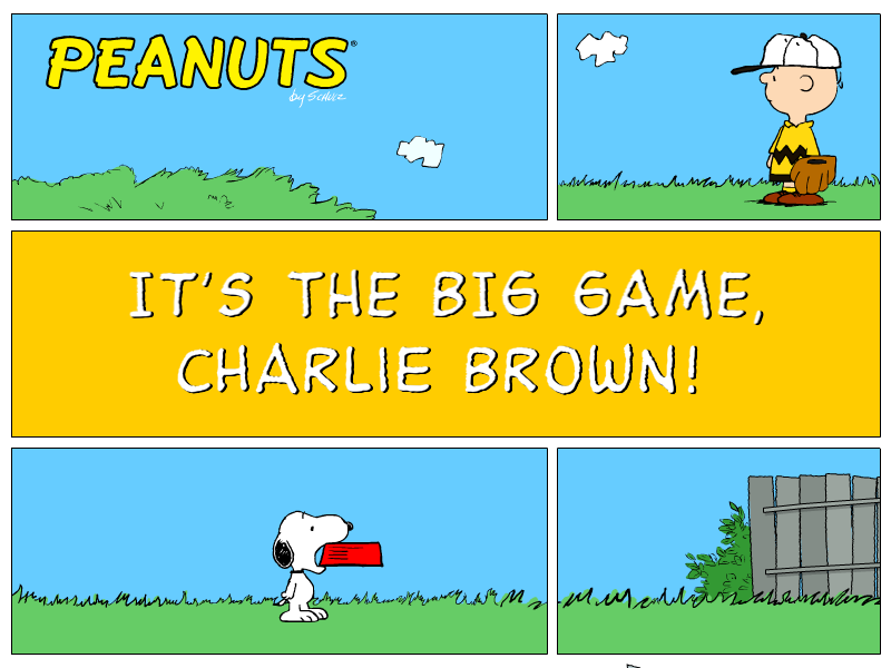 Peanuts: It's the Big Game, Charlie Brown! Windows Title screen