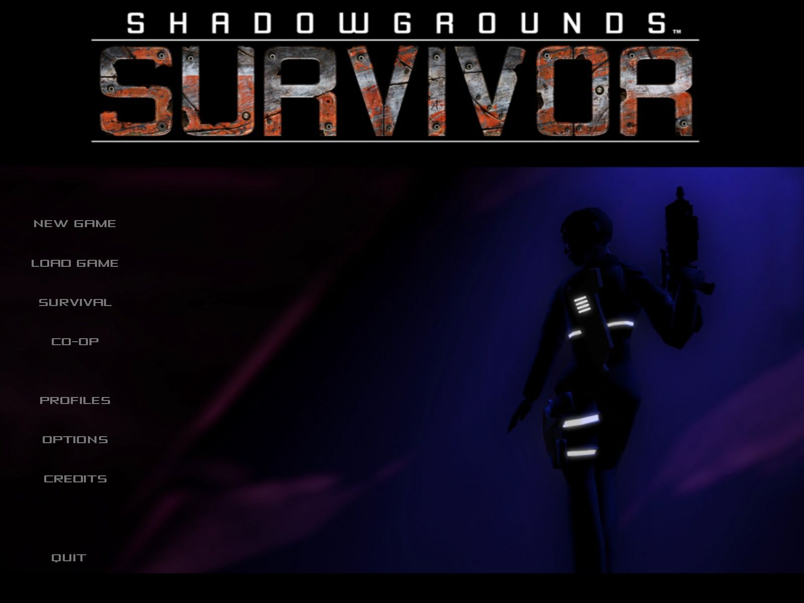 Shadowgrounds Survivor Windows Main Menu