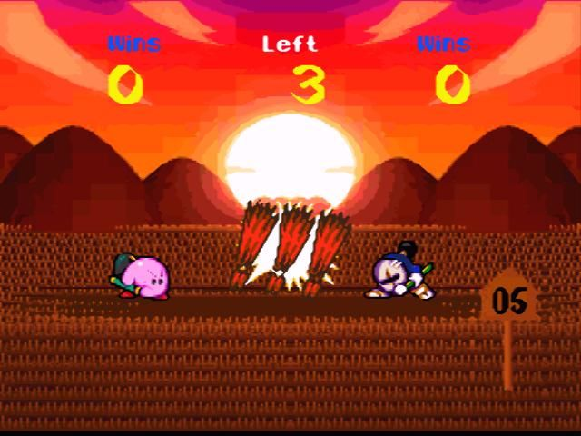 Kirby Super Star SNES Samurai battle: the one who presses a button first, wins