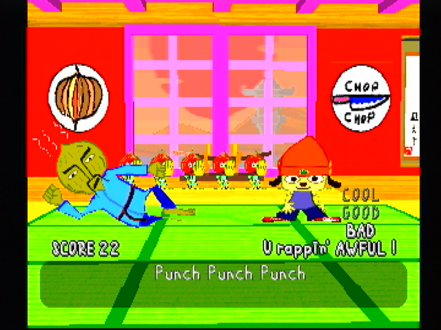 PaRappa the Rapper PlayStation The rap here is simple... although the master doesn't like my performance.