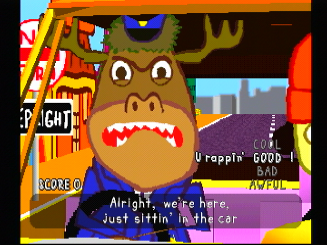 PaRappa the Rapper PlayStation Mooselini is going to teach you to drive...