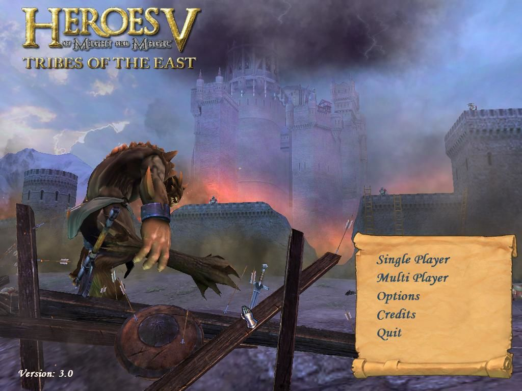 Heroes of Might and Magic V: Tribes of the East Windows Main menu