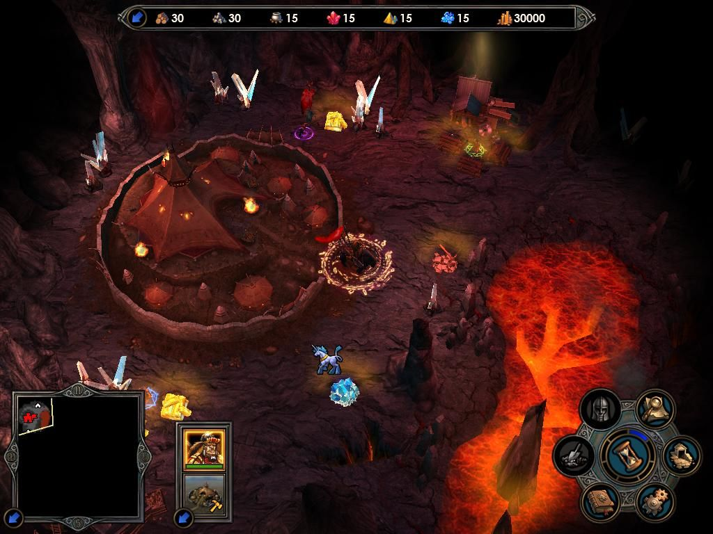 Heroes of Might and Magic V: Tribes of the East Windows A barbarian hero, and the new Stronghold