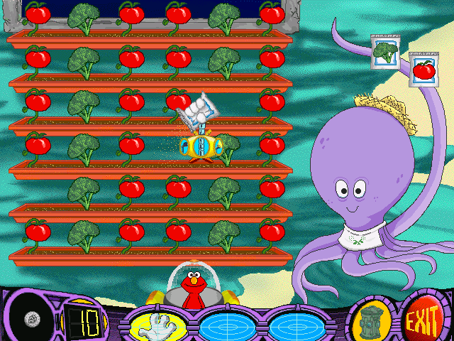 Elmo's Deep Sea Adventure Windows Planting seeds to match the vegetable pattern