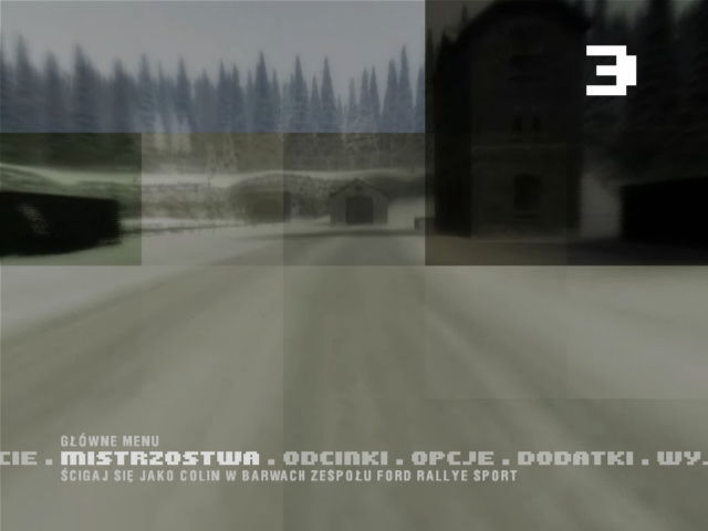 Colin McRae Rally 3 Windows Main menu with animated background