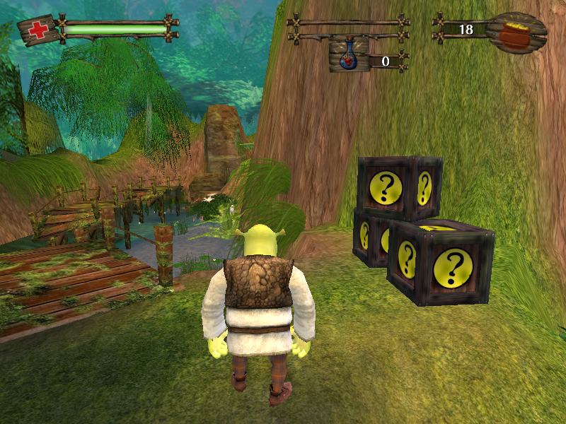 Shrek 2 Windows There is an occasional pile of breakable crates.
