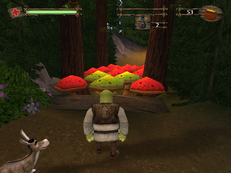 """Shrek 2 Windows """"Green is good, red is bad"""": these giant mushrooms change color sporadically; Shrek can only jump on them when they are green."""