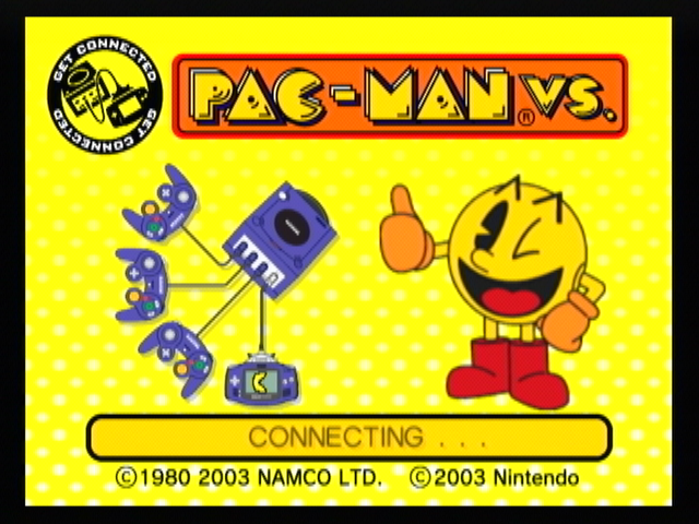 Pac-Man Vs. GameCube Connecting the GBA at the title screen.