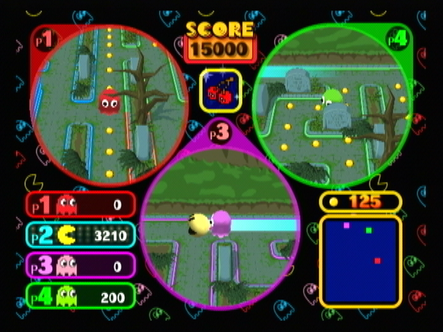 Pac-Man Vs. GameCube Pink closes in while green losses the trail.