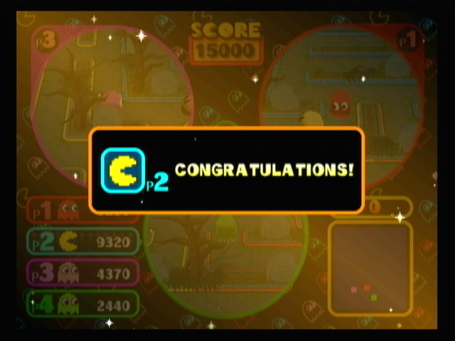 Pac-Man Vs. GameCube Pac-Man has cleared the field, the game will continue until someone get the target score.